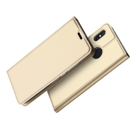 Тонкий Флип Чехол Книжка с Скрытым Магнитом и Отделением для Карты для Xiaomi Mi A2 / Mi 6X Золотой