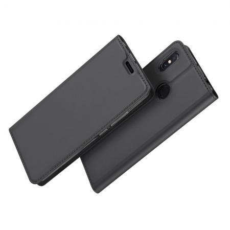 Тонкий Флип Чехол Книжка с Скрытым Магнитом и Отделением для Карты для Xiaomi Mi Max 3 Черный