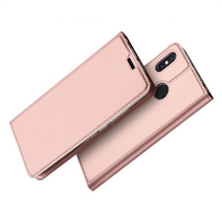 Тонкий Флип Чехол Книжка с Скрытым Магнитом и Отделением для Карты для Xiaomi Mi Max 3 Розовое Золото
