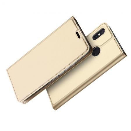 Тонкий Флип Чехол Книжка с Скрытым Магнитом и Отделением для Карты для Xiaomi Mi Max 3 Золотой