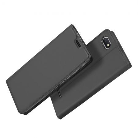 Тонкий Флип Чехол Книжка с Скрытым Магнитом и Отделением для Карты для Xiaomi Redmi 6A Черный