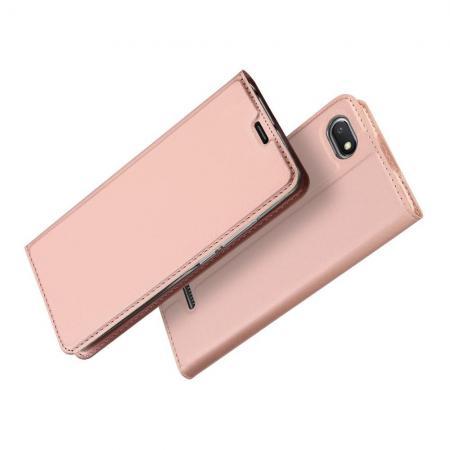 Тонкий Флип Чехол Книжка с Скрытым Магнитом и Отделением для Карты для Xiaomi Redmi 6A Розовое Золото