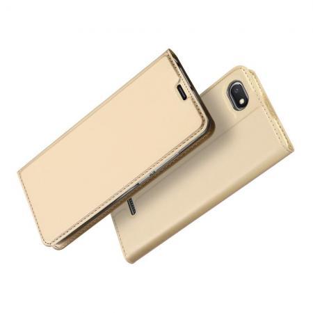 Тонкий Флип Чехол Книжка с Скрытым Магнитом и Отделением для Карты для Xiaomi Redmi 6A Золотой