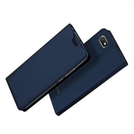 Тонкий Флип Чехол Книжка с Скрытым Магнитом и Отделением для Карты для Xiaomi Redmi 6A Синий