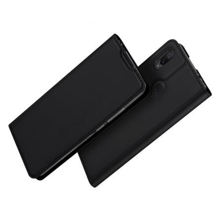 Тонкий Флип Чехол Книжка с Скрытым Магнитом и Отделением для Карты для Xiaomi Redmi Note 7 / Note 7 Pro Черный