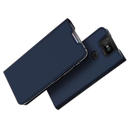 Тонкий Флип Чехол Книжка с Скрытым Магнитом и Отделением для Карты для Asus Zenfone 6 ZS630KL Синий