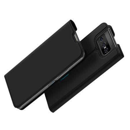 Тонкий Флип Чехол Книжка с Скрытым Магнитом и Отделением для Карты для Asus Zenfone 7 ZS670KS Черный