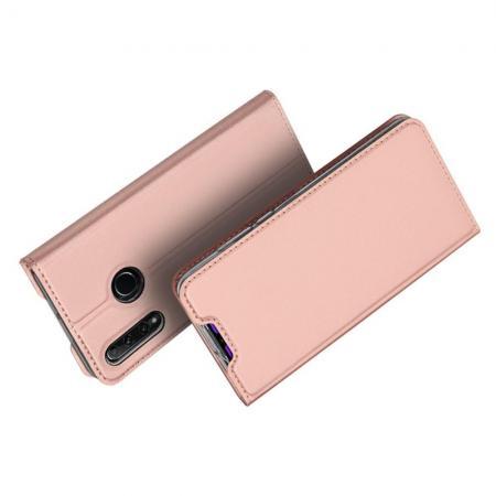 Тонкий Флип Чехол Книжка с Скрытым Магнитом и Отделением для Карты для Huawei Honor 10i Розовое Золото