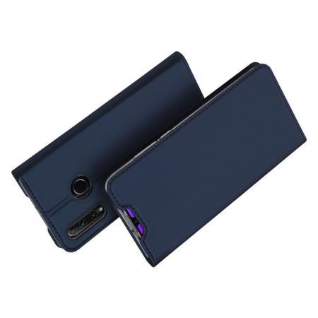Тонкий Флип Чехол Книжка с Скрытым Магнитом и Отделением для Карты для Huawei Honor 10i Синий