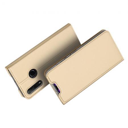 Тонкий Флип Чехол Книжка с Скрытым Магнитом и Отделением для Карты для Huawei Honor 10i Золотой
