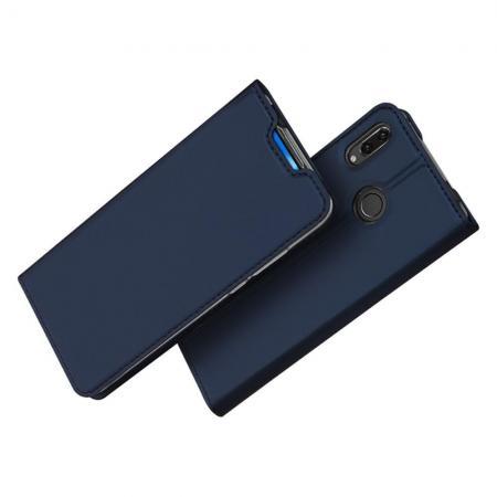 Тонкий Флип Чехол Книжка с Скрытым Магнитом и Отделением для Карты для Huawei Honor 20 Синий