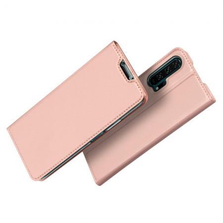 DUX DUCIS Тонкий Флип Чехол Книжка с Скрытым Магнитом и Отделением для Карты для Huawei Honor 20 Pro Розовое Золото