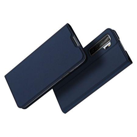 Тонкий Флип Чехол Книжка с Скрытым Магнитом и Отделением для Карты для Huawei Honor 30S Синий