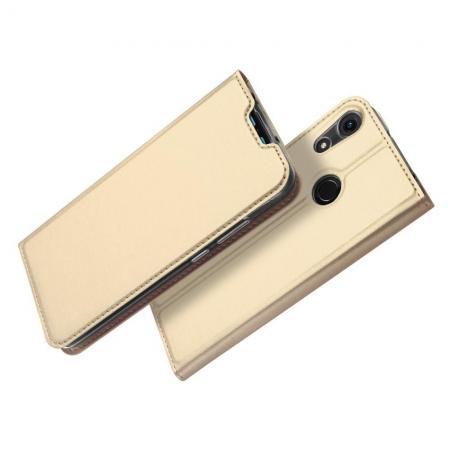 Тонкий Флип Чехол Книжка с Скрытым Магнитом и Отделением для Карты для Huawei Honor 8A Золотой