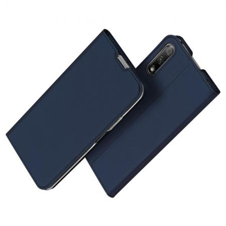 Тонкий Флип Чехол Книжка с Скрытым Магнитом и Отделением для Карты для Huawei Honor 9X Pro / Honor 9X Синий