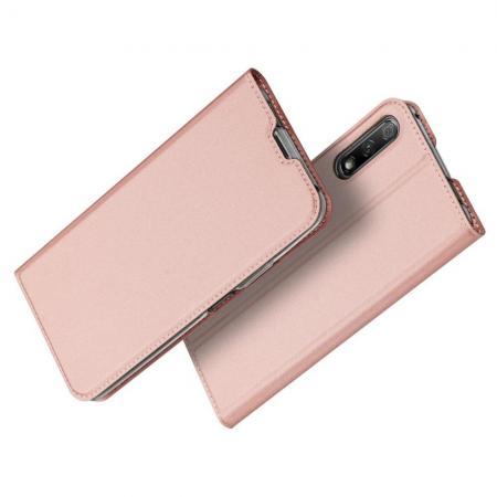 Тонкий Флип Чехол Книжка с Скрытым Магнитом и Отделением для Карты для Huawei Honor 9X Pro / Honor 9X Ярко-Розовый