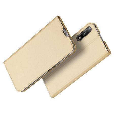 Тонкий Флип Чехол Книжка с Скрытым Магнитом и Отделением для Карты для Huawei Honor 9X Pro / Honor 9X Золотой