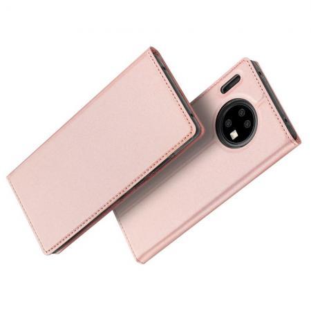Тонкий Флип Чехол Книжка с Скрытым Магнитом и Отделением для Карты для Huawei Mate 30 Pro Розовый