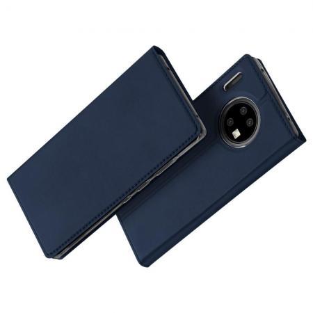 Тонкий Флип Чехол Книжка с Скрытым Магнитом и Отделением для Карты для Huawei Mate 30 Pro Синий