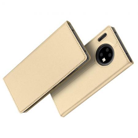 Тонкий Флип Чехол Книжка с Скрытым Магнитом и Отделением для Карты для Huawei Mate 30 Pro Золотой