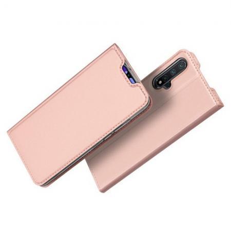 Тонкий Флип Чехол Книжка с Скрытым Магнитом и Отделением для Карты для Huawei Nova 5 Розовое Золото