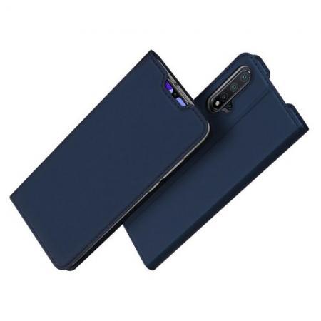 Тонкий Флип Чехол Книжка с Скрытым Магнитом и Отделением для Карты для Huawei Nova 5 Синий