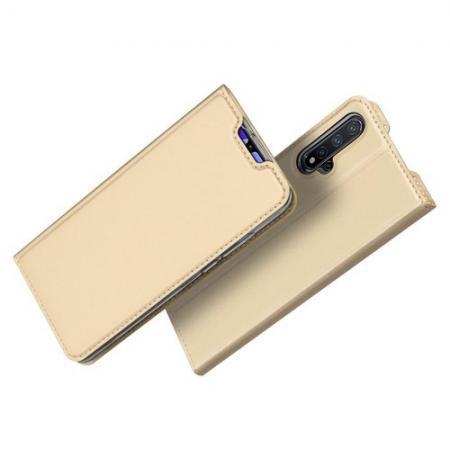 Тонкий Флип Чехол Книжка с Скрытым Магнитом и Отделением для Карты для Huawei Nova 5 Золотой