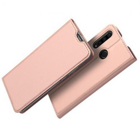 Тонкий Флип Чехол Книжка с Скрытым Магнитом и Отделением для Карты для Huawei Honor 20S Розовое Золото