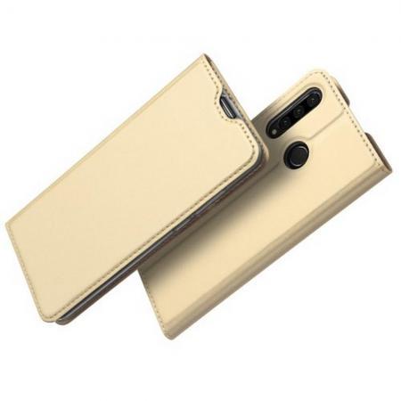 Тонкий Флип Чехол Книжка с Скрытым Магнитом и Отделением для Карты для Huawei P30 Lite Золотой