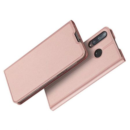 Тонкий Флип Чехол Книжка с Скрытым Магнитом и Отделением для Карты для Huawei P40 lite E Розовый