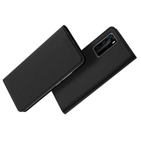 Тонкий Флип Чехол Книжка с Скрытым Магнитом и Отделением для Карты для Huawei P40 Pro Черный
