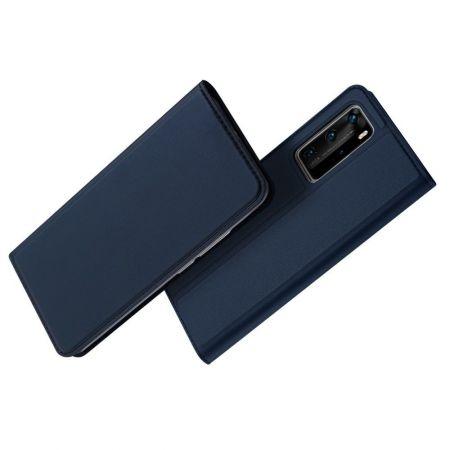 Тонкий Флип Чехол Книжка с Скрытым Магнитом и Отделением для Карты для Huawei P40 Pro Синий