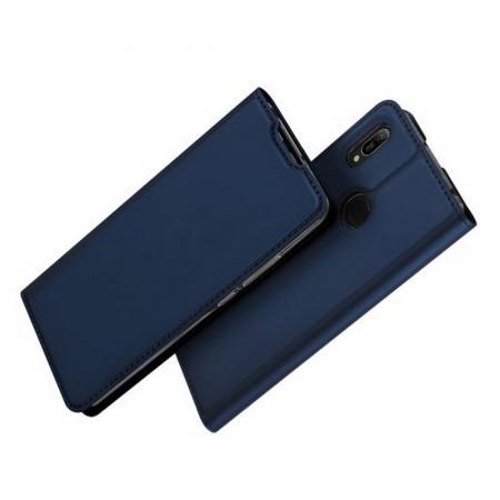 Тонкий Флип Чехол Книжка с Скрытым Магнитом и Отделением для Карты для Huawei Y6 2019 Синий