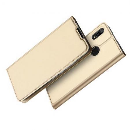 Тонкий Флип Чехол Книжка с Скрытым Магнитом и Отделением для Карты для Huawei Y6 2019 Золотой