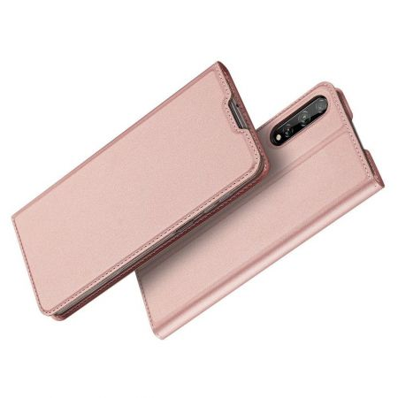 Тонкий Флип Чехол Книжка с Скрытым Магнитом и Отделением для Карты для Huawei Y8p Розовый