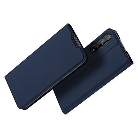 Тонкий Флип Чехол Книжка с Скрытым Магнитом и Отделением для Карты для Huawei Y8p Синий