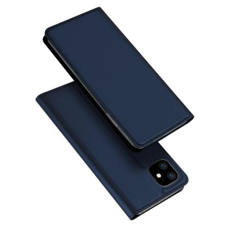 Тонкий Флип Чехол Книжка с Скрытым Магнитом и Отделением для Карты для iPhone 11 Синий