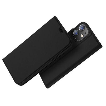 Тонкий Флип Чехол Книжка с Скрытым Магнитом и Отделением для Карты для iPhone 12 Pro 6.1 Черный