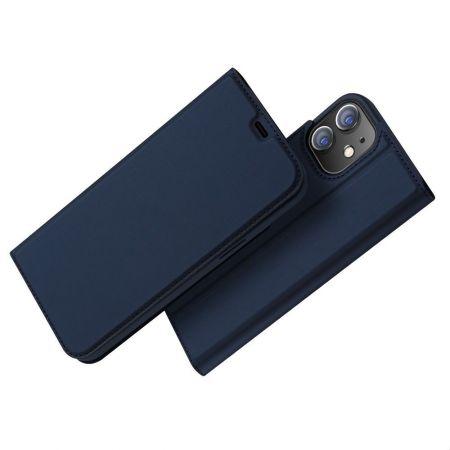 Тонкий Флип Чехол Книжка с Скрытым Магнитом и Отделением для Карты для iPhone 12 Pro 6.1 Синий