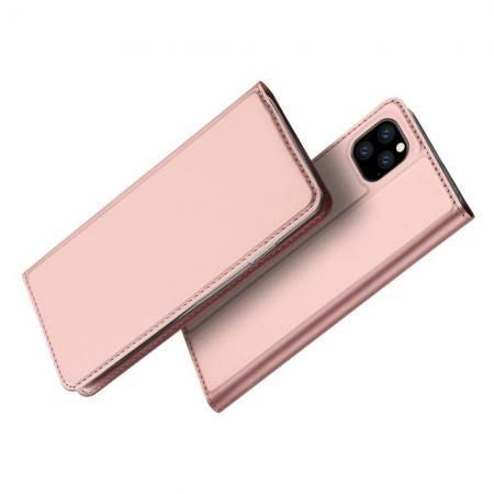 Тонкий Флип Чехол Книжка с Скрытым Магнитом и Отделением для Карты для iPhone 11 Pro Розовое Золото