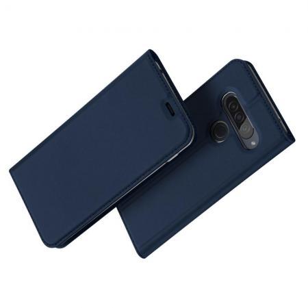 Тонкий Флип Чехол Книжка с Скрытым Магнитом и Отделением для Карты для LG G8s ThinQ Синий