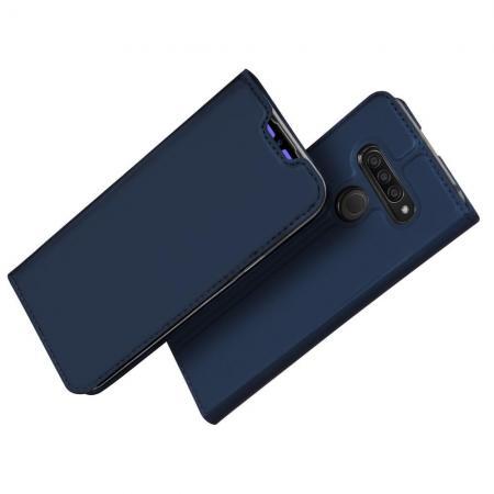 Тонкий Флип Чехол Книжка с Скрытым Магнитом и Отделением для Карты для LG Q60 Синий