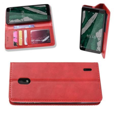 Тонкий Флип Чехол Книжка с Скрытым Магнитом и Отделением для Карты для Nokia 1 Plus Красный цвет