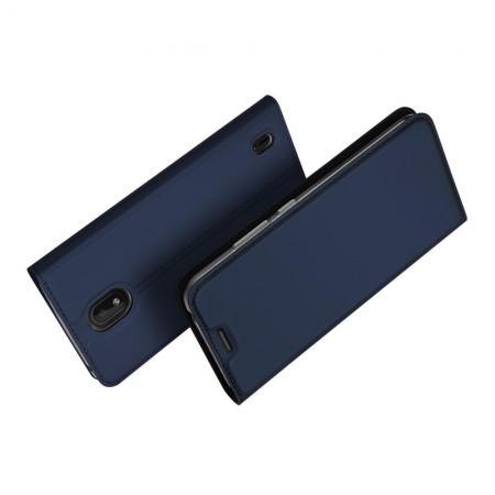 Тонкий Флип Чехол Книжка с Скрытым Магнитом и Отделением для Карты для Nokia 1 Plus Синий