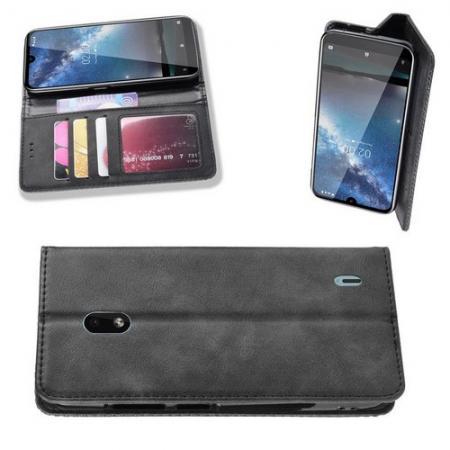 Тонкий Флип Чехол Книжка с Скрытым Магнитом и Отделением для Карты для Nokia 2.2 Черный