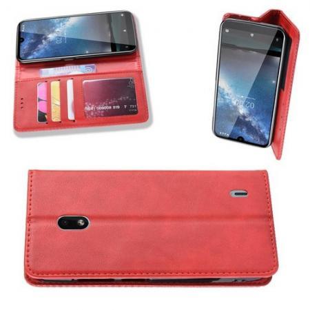 Тонкий Флип Чехол Книжка с Скрытым Магнитом и Отделением для Карты для Nokia 2.2 Красный