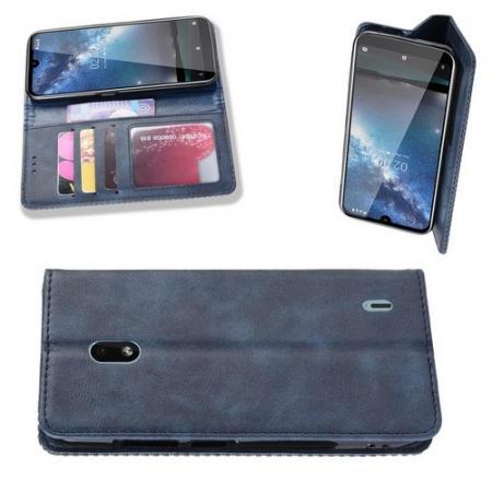 Тонкий Флип Чехол Книжка с Скрытым Магнитом и Отделением для Карты для Nokia 2.2 Синий