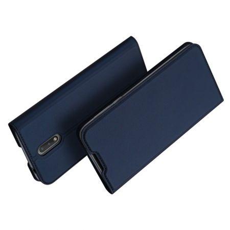 Тонкий Флип Чехол Книжка с Скрытым Магнитом и Отделением для Карты для Nokia 2.3 Синий
