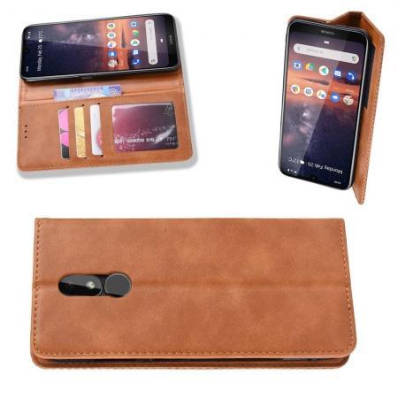 Тонкий Флип Чехол Книжка с Скрытым Магнитом и Отделением для Карты для Nokia 3.2 Коричневый