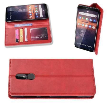 Тонкий Флип Чехол Книжка с Скрытым Магнитом и Отделением для Карты для Nokia 3.2 Красный